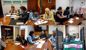 Composición fotográfica con las reuniones en el Parlamento.