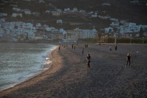Atardecer en la playa de Salobreña.