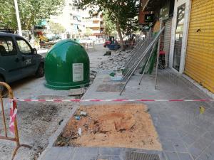Imagen de este viernes de la tala de árboles en la Avenida de Barcelona.