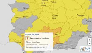 Mapa de Aemet con el aviso naranja para la Cuenca del Genil.