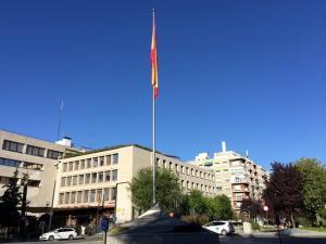 Bandera española que ondea en la Avenida de la Constitución, junto al Triunfo.
