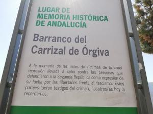 Señalización del Barranco del Carrizal como Lugar de Memoria de Andalucía.