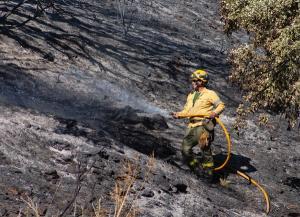 Imagen de un bombero del Infoca durante los trabajos de extinción del incendio de Polopos.