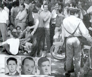 Imagen de la huelga de la construcción del 70 y, abajo, las fotografía de lo tres obrero asesinados.