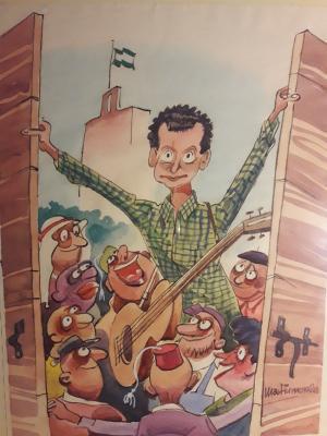 Carlos Cano abriendo las puertas de Granada a inmigrantes y refugiados. Dibujo de Martinmorales, que ha cedido los derechos a Granada Abierta.