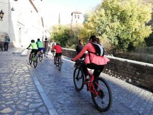 Un grupo de ciclistas por la Carrera del Darro el pasado fin de semana.