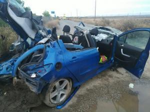 Coche accidentado en la A-92, en Aldeire, a finales de noviembre.