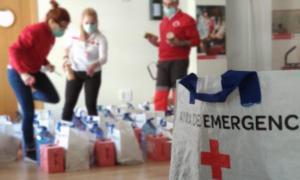 Lotes de alimentos de Cruz Roja preparados para repartir.