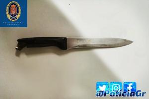 Cuchillo que llevaba el ahora detenido.