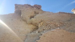 Detalle del derrumbe en la muralla nazarí.