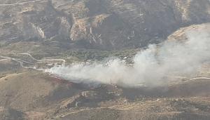 Imagen aérea del incendio en Murtas.
