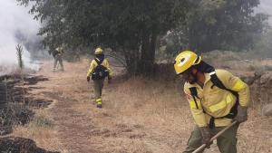 Bomberos del Infoca trabajan en la extinción del fuego en Güéjar Sierra.