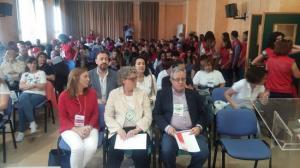 María Eugenia Rodríguez-Bailón (izquierda) en un encuentro de voluntariado junto al hasta ahora presidente provincial y la alcaldesa de Albolote.