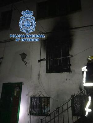 Vivienda afectada por el incendio.