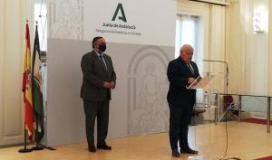 Jesús Aguirre con Pablo García, en una comparecencia en Granada.