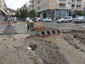 Efectos de la tromba de agua en Almuñécar.
