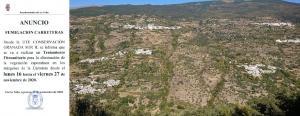 Anuncio publicado por el Ayuntamiento y vista de los núcleos de población de La Taha.