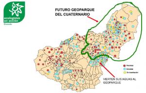 Mapa con las granjas actuales y proyectadas, muchas de ellas en el ámbito del Geoparque.