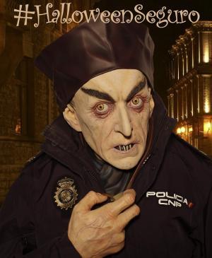 Cartel de la campaña policial para un Halloween seguro.