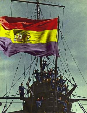 Fotografía coloreada con la bandera republicana en el Jaime I [Ver 1].