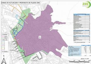 Mapa con la Zona de Bajas Emisiones, en color lila, y la corona en verde para los aparcamientos en rotación.