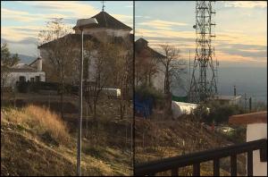 Composición con dos imágenes facilitadas por los vecinos de la zona en la que se aprecia el bancal construido al rellenar artificialmente la ladera.