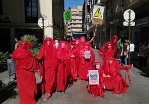 Activistas de Extinction Rebellion, en el centro de la capital.