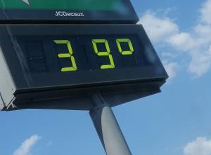 Temperatura en un termómetro exterior de la capital este jueves.