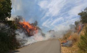 Uno de los vehículos de Bomberos, junto a las llamas de uno de los fuegos.