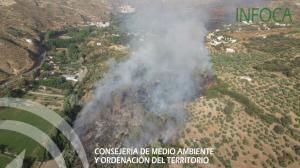 Imagen aérea del incendio en Dúdar.