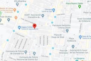 Localización, en rojo, del incendio, en la calle Carmen de Icaza.