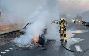 Bomberos actuando en el vehículo incendiado en la A-92 en Guadix.