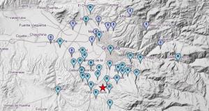 Mapa de intensidades del terremoto registrado en Gójar..