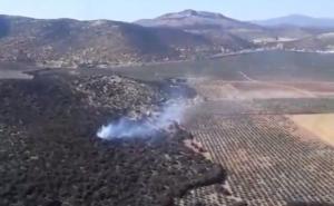 Imagen aérea del punto donde se encuentra el fuego.