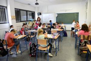 Una de las clases del colegio.