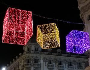 Imagen de archivo de iluminación navideña en el Centro de Granada.