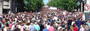 Imagen de la multitudinaria manifestación del pasado 16O.