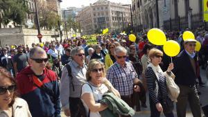 La manifestación del '12 a las 12' a su llegada al Triunfo.