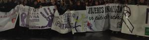 Al término de la manifestación, junto al Triunfo, se ha leído el manifiesto.
