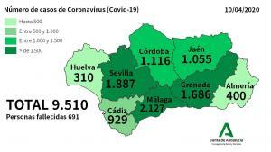 Mapa con los datos actualizados por la Junta a fecha 10 de abril.