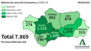 Mapa con la incidencia de casos positivos en Andalucía desde el inicio de la pandemia.