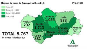 Mapa con la incidencia del Covid-19 a fecha 7 de abril.