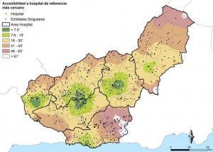 Distancia en tiempo al hospital, con áreas de la Alpujarra (color blanco) y del noreste a más de 60 minutos y otras zonas a más de 45.