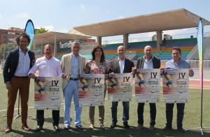 Presentación del evento de atletismo. Sánchez Vargas es el segundo por la drcha.