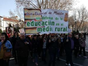 Imagen de archivo de la manifestación del pasado enero en contra del cierre de escuelas rurales.