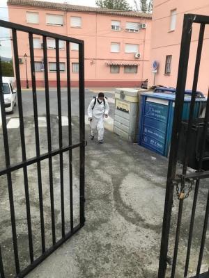 Tareas de desinfección en Montefrío.