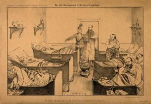 Litografía de J. Braakensiek de 1889 sobre la denominada gripe rusa.