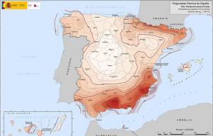 Mapa de riesgo sísmico, donde destacan Granada y Murcia.