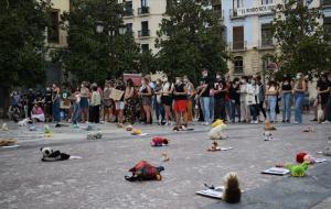El suelo de la Plaza del Carmen se llenó de peluches.