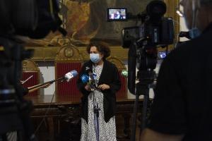 Pilar Aranda, este pasado martes, durante su comparecencia ante los medios.
